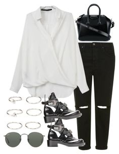 """Sin título #2086"" by alx97 ❤ liked on Polyvore featuring Topshop, Givenchy, Forever 21 and Ray-Ban"