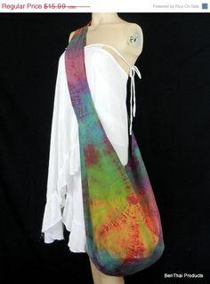 ON SALE Tie Dye Bag Purse Hobo Hippie Sling Crossbody Messenger Classic OAK Xxl Plus Size C5. $14.87, via Etsy.