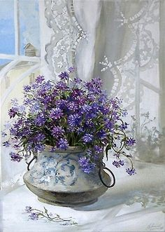 Ana Rosa! Vintage Vase with pretty purple~blue flowers! Just Lovely!