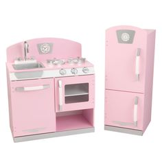 With our KidKraft Pink Retro Kitchen, kids can cook up a feast for the whole family. The young chefs in your life are sure to love this wooden kitchen's sweet colors and adorable details. Pink Wooden Kitchen, Vintage Kitchen, Kids Play Kitchen Set, Cooking Toys, Kitchen Refrigerator, Modular Design, Wood Construction, Kid Kraft, Baby Toys