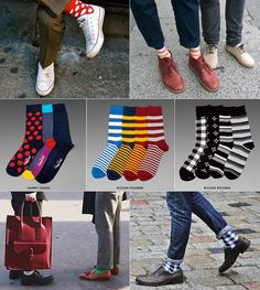 A good pair socks play a key role in any wardrobe. I love colorful socks! Funky Socks, Colorful Socks, Cool Socks, Men's Socks, Socks Men, Sharp Dressed Man, Well Dressed Men, Fashion Moda, Mens Fashion