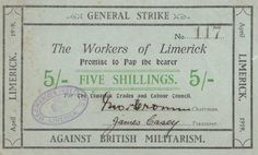 The Limerick Soviet Note Issue April 1919 General Strike, Political Issues, Revolution, Politics, Bullet Journal, Notes, Writing, Education, History