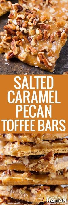 Incredibly easy 7-ingredient Toffee Bars recipe! Quick homemade caramel sauce and pecans make this a tasty treat!