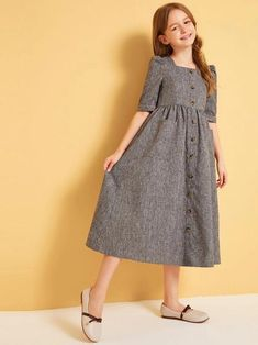 Girls Button Front Pocket Front A-Line Dress - Girls Button Front Pocket Front A-Line Dress – gagokid - Stylish Dresses For Girls, Frocks For Girls, Little Girl Dresses, Simple Dresses, Girls Dresses, Girls Fashion Clothes, Kids Fashion, Fashion Outfits, Kids Dress Wear