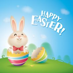 Cute rabbit with easter background vector 01