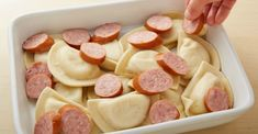 This might be the ultimate comfort food casserole, made with frozen pierogies, kielbasa and a creamy cheese sauce. This might be the ultimate comfort food casserole, made with frozen pierogies, kielbasa and a creamy cheese sauce. Perogi Casserole, Sausage Casserole, Casserole Dishes, Perogies Casserole Recipe, Casserole Recipes, Pierogies And Kielbasa, Frozen Pierogies, Kielbasa Crockpot, Pierogies Homemade