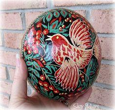 Ukrainian ostrich egg, pysanka, red bird, bird, bird of paradise, ostrich egg, egg, decoration