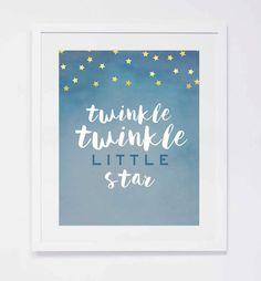 Twinkle Twinkle Little Star Watercolor, Nursery Digital Print