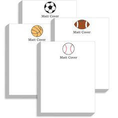 Personalized All Star Sports Balls Notepad Collection - Soccer, Football, Baseball, Basketball