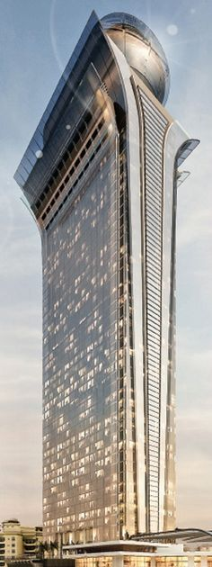 Palm Tower, a 50 story apartment building planned to rise at the center of Palm Jumeirah Island in Dubai, UAE