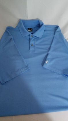 MEN'S UNDER ARMOUR Blue STRIPED POLO SHIRT LARGE #UnderArmour #PoloRugby