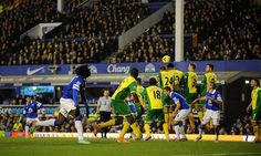 11 January 2014 Kevin Mirallas scores Everton's second against Norwich with a well taken free kick