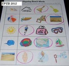 #Rhyming #Beach Words for #Preschool and #Kindergarten