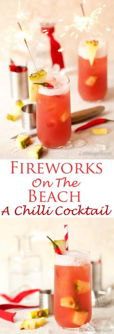 """Spice up your beach cocktail with """"Fireworks on the beach"""" Fireworks on the Beach is a fiery twist on the classic Sex on the Beach cocktail. At the heart of this cocktail lies Chilli Vodka, making it a spicy, fruity, long and punchy drink to savour. Beach Cocktails, Vodka Cocktails, Summer Drinks, Cocktail Drinks, Alcoholic Drinks, Beverages, Healthy Cocktails, Refreshing Drinks, Fun Drinks"""
