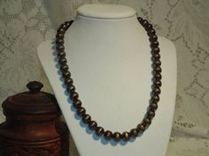 Brown Glass Vintage Beaded Necklace from by SandiesGiftCorner, $14.95