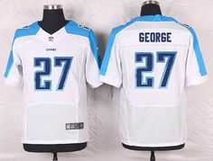 Tennessee Titans #27 Eddie George White Retired Player NFL Nike Elite Men's…