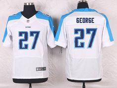 Tennessee Titans #27 Eddie George White Retired Player NFL Nike Elite Men's…