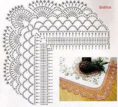 Crochet lace edging arcs and fans Crochet Boarders, Crochet Edging Patterns, Crochet Lace Edging, Crochet Diagram, Tatting Patterns, Doily Patterns, Crochet Chart, Thread Crochet, Crochet Trim