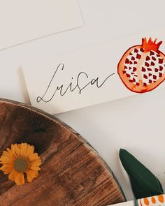 "Tanja von Die Handletterei on Instagram: ""#handletteringmeetsillustration 📖 #funwithfruit >>> #tischkarten #letteringdiy #watercolordiy . . . #lettering #letteringlove…"""