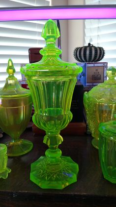 Uranium glass covered jar .  I have the stretch glass one in the back.