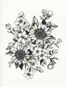 Floral flower drawing black and white illustration pinterest in progress sunflowers and geraniums for sofia technicolorlover this image is a design for a tattoo please respect my client and do not mightylinksfo
