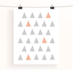 Abstract geometric print - mint and coral triangle poster - mint green home decor - home office wall art - nursery print