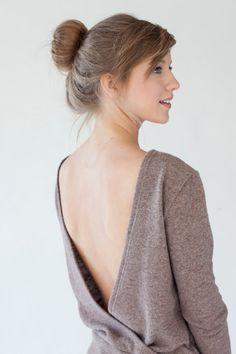 Light Brown Open Back Sweater