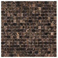 "Dark Emperador Marble 5/8"" Small Square Mosaic Polished"