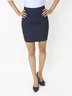 With an elegant finish, this Cotton Cool skirt makes a perfect addition to your wardrobe. Cotton/Polyester long (size Unlined Hidden back zip Center back slit Machine washable Imported Easy-care solid skirt from Cotton Cool Mini Pencil Skirt, Gowns, Zip, Navy, Elegant, Skirts, Cotton, Products, Fashion