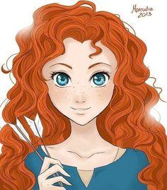 Brave's Merida cartoon illustration via www.Facebook.com/DisneylandForMisfits