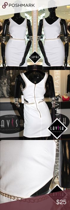 NWT🚨White // Cutout // Dress 🚨 FINAL PRICE🚨 White cutout dress Bodycon style. With gold chain detailing and a gold zipper at the back. NEW With Tags from our boutique Dresses Mini