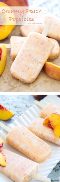 These easy peach popsicles are made with Greek yogurt and honey, making them a healthy way to stay cool in the heat!