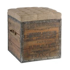 """Sac de Moulin Storage Crate Stool ~ This charming wood crate stool features French words in stylish font. The tufted burlap cushion on top provides extra style and comfort. Best of all, the top is removable so you can easily store your small items inside.  • Made from reclaimed wood and metal  • Burlap material  18""""H X 18""""D X 18""""W  4395"""