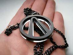 Borderlands Necklace , Laser Cut Black and Mirror Borderlands Voult Pendant Necklace - Sale 10 %