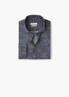 Slim-fit printed voile shirt