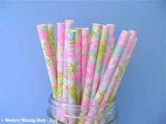Pink, Green, and Blue Pastel Paper Straws (Watercolor Wildflowers - Pack of 25) **Weddings, Parties, Showers, Gifts** Easter or Pastel Party...