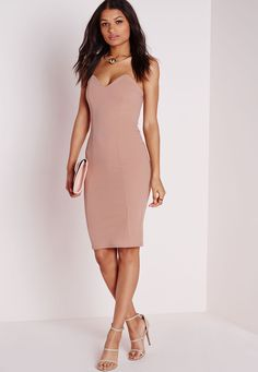 Missguided - Bandeau Bodycon Midi Dress Taupe