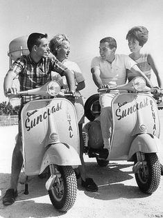 Vespa rentals on the beach. Florida, 1964.