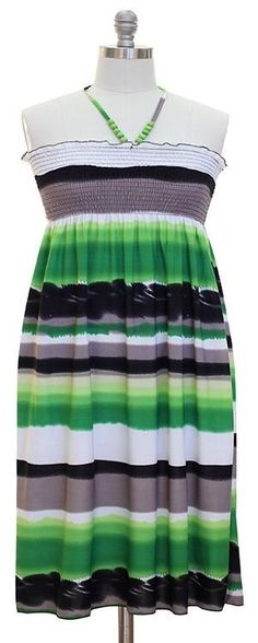 Dress Halter Top Mid Calf Sundress Beaded Self Tie Smocked Juniors Plus 2X NWT #JonAnnaNewYork #Sundress #SummerBeach