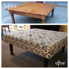 DIY cheap coffee table turned ottoman!