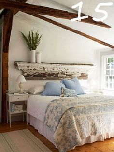 Old, antique fireplace mantels can be used for just about anything.  A fireplace mantle headboard is a great shabby chic, cottage look.