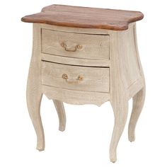 Weathered+wood+end+table+with+a+bombe-style+silhouette+and+2+drawers.+  +  Product:+End+tableConstruction+Material:+