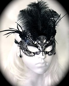 Black Diamond Mask Venitian Lace Masquerade Mask by Marcellefinery