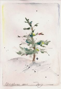 "Fir in Snow II, holiday watercolor print, 8"" x 10""."