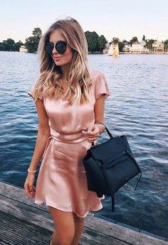 Women's fashion | Pastel pink silk dress