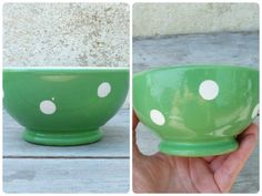 Vintage Longchamp France green polka dots cafe au lait bowl small size #Longchamp