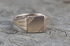 9ct Gold Mens Signet Ring Square Chunky Top by LodyLoves on Etsy