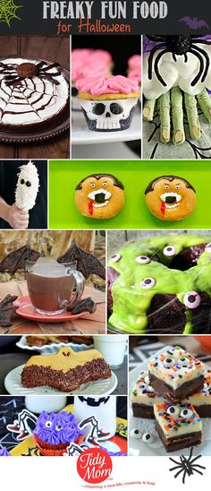 Halloween baking is so much fun isn't it?  With Halloween just a week away, you might be looking for some goulishly fun treats for a party or trick-or-treaters, so I've got you covered!! Freaky Fun Food Ideas to make for Halloween at TidyMom.net