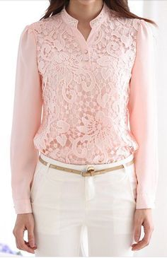 Refreshing Stand Collar Pink Lace Splicing Chiffon Long Sleeve Blouse For Women