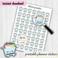 Grocery Cart Planner Stickers